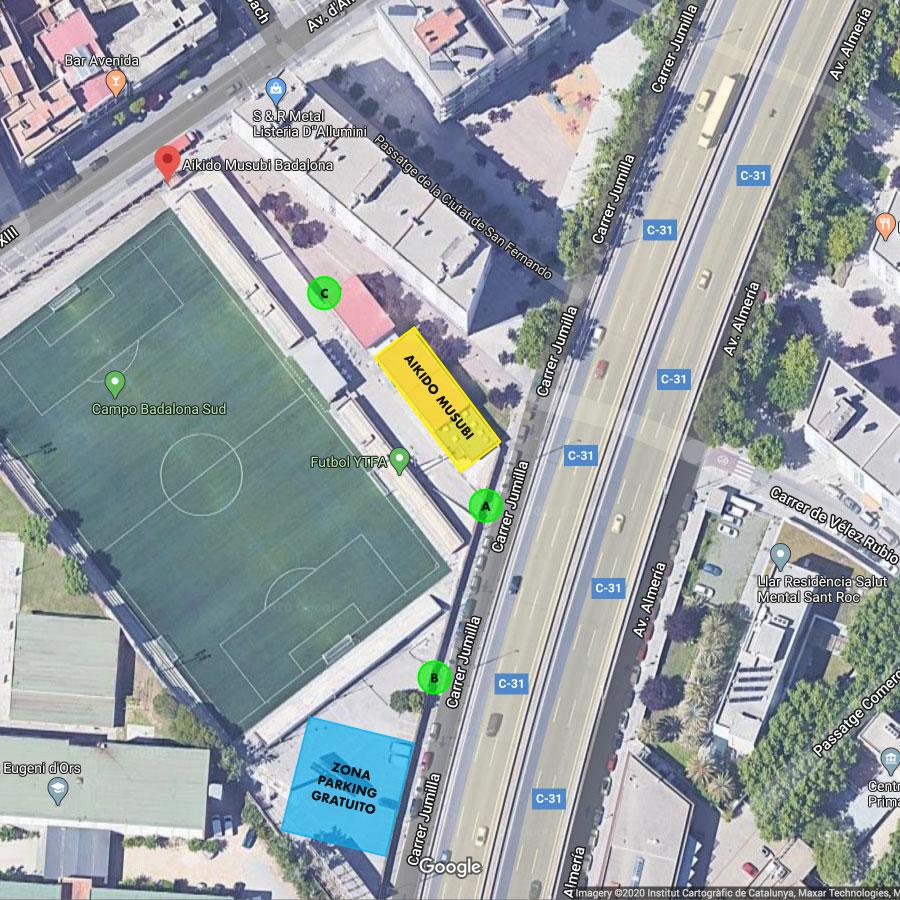 Mapa de las instalaciones deportivas Badalona Sur