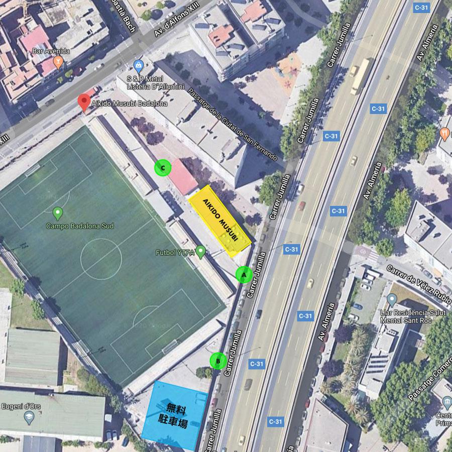 南バダロナサッカー球技場の地図